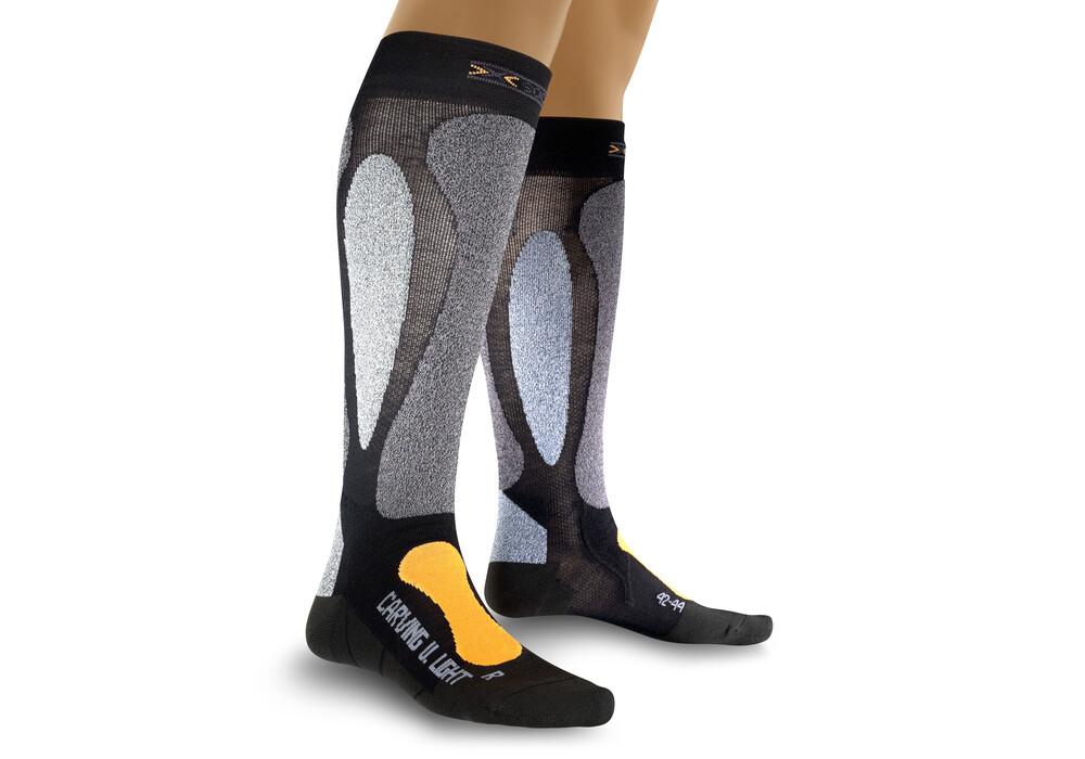 X socks ski carving ultra light black orange campz at